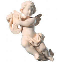 Flying Cherub Angel with Lyre from Italian Woodcarvers Wooden Angels handmade - Made in Italy - natural