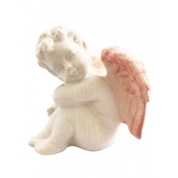 Left sitting Angel - Dolfi Wooden Christmas Angels - Made in Italy - Red cloth