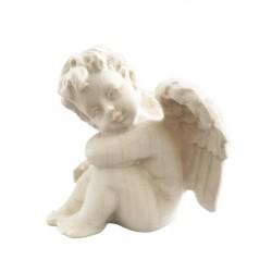 Sitzender Engel Holz links - Natur