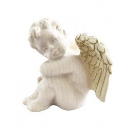 Left sitting wooden Angel - Natural wood white with gold application