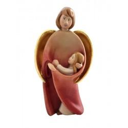 Schutzengel mit Mädchen; Dolfi Engel Figuren Holz Ohne Gesicht, Original Grödner Holzschnitzereien - Ölfarben lasiert