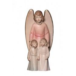 Angelo Custode con Bambini scolpito in legno acero - drappo rosso