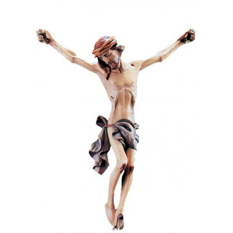 the Body of Jesus Christ Hand carved in Italian maple wood Wooden Wall Crucifix - Made in Italy - Blue cloth