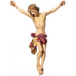 Gesù corpo di Cristo scolpito in legno acero e tiglio - Dolfi crocifissi legno, Val Gardena - drappo rosso