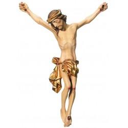 Gesù corpo di Cristo scolpito in legno acero e tiglio - Dolfi crocifissi legno, Val Gardena - drappo dorato