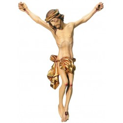 the Body of Jesus Christ Hand carved in Italian maple wood Wooden Wall Crucifix - Made in Italy - Gilded cloth