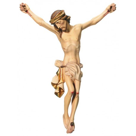 the Body of Jesus Christ Hand carved in Italian maple wood Wooden Wall Crucifix - Made in Italy - White cloth