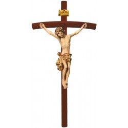 Body of Christ Jesus with Curved Dark Cross in wood carved from Ortisei Val Gardena (Italy) - Dolfi - Gilded cloth