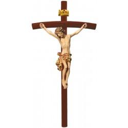 Christuskörper auf gebogenen dunklen Balken - Vergoldetes Tuch