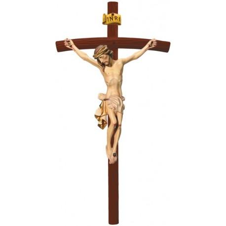 Christuskörper auf gebogenen dunklen Balken - Weißes Tuch