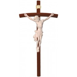 Body of Christ Jesus with Curved Dark Cross in wood carved from Ortisei Val Gardena (Italy) - Dolfi - natural