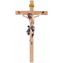 Crucifix Body of Christ on Straight Cross in wood carved Made in Val Gardena Large Wooden Crucifix - Blue cloth