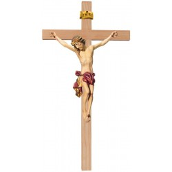 Crucifix Body of Christ on Straight Cross in wood carved Made in Val Gardena Large Wooden Crucifix - Red cloth