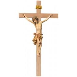 Corpo di Cristo classico scolpito con forza e spiritualità su croce - drappo dorato
