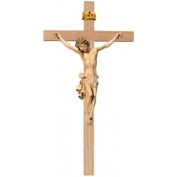 Corpo di Cristo classico scolpito con forza e spiritualità su croce - drappo bianco