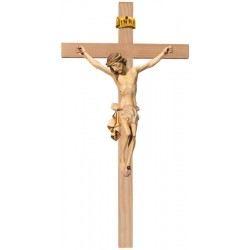 Crucifix Body of Christ on Straight Cross in wood carved Made in Val Gardena Large Wooden Crucifix - White cloth