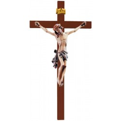 Body of Christ on Straight Cross carved in maple wood - Dolfi small Wooden Crucifix - Made in Italy - Blue cloth