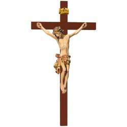 Body of Christ on Straight Cross carved in maple wood - Dolfi small Wooden Crucifix - Made in Italy - Gilded cloth