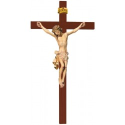 Body of Christ on Straight Cross carved in maple wood - Dolfi small Wooden Crucifix - Made in Italy - White cloth
