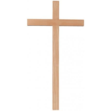 Croce diritta scolpita in legno di frassino - naturale