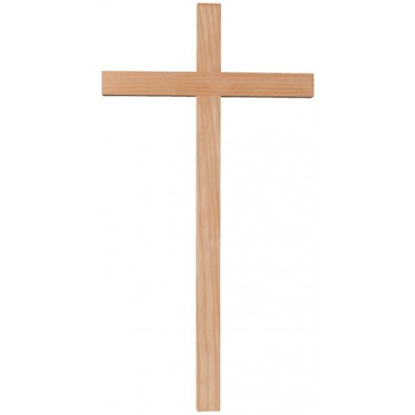 Straight Cross wood carved By Hand in Ash wood - natural