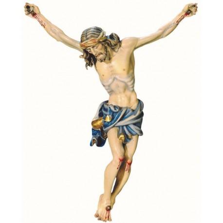 Jesus Christus Körper barock in Ahornholz - Blaues Tuch