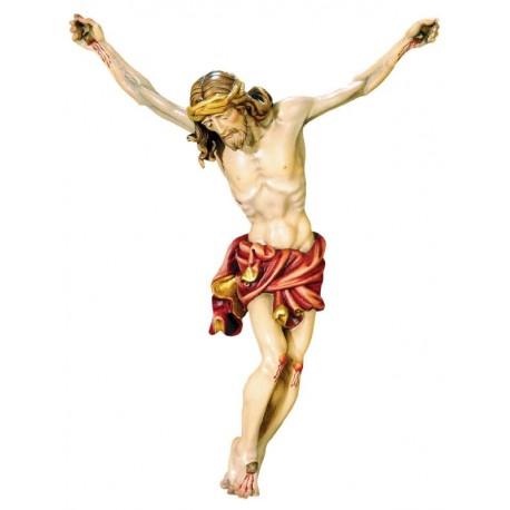 Jesus Christus Körper barock in Ahornholz - Rotes Tuch