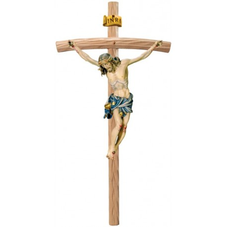 Body of Christ Baroque Style on Curved cross - Blue cloth
