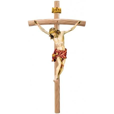 Christus Körper auf gebogenen hellen Balken - Rotes Tuch