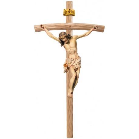 Christus Körper auf gebogenen hellen Balken - Weißes Tuch