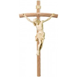 Body of Christ Baroque Style on Curved cross - natural