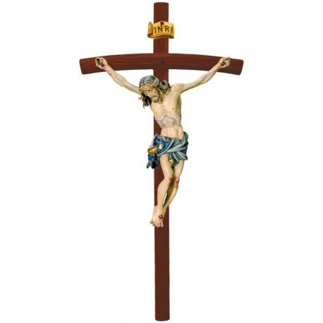 Christuskörper auf gebogenen Balken - Blaues Tuch