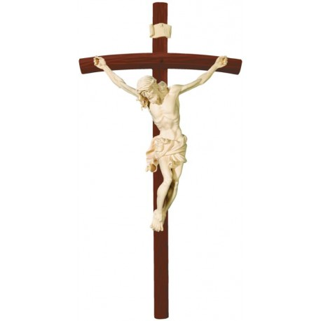 Body of Christ wood carved on curved dark - natural