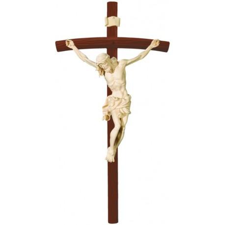 Gesù Cristo barocco su croce curva scura - naturale