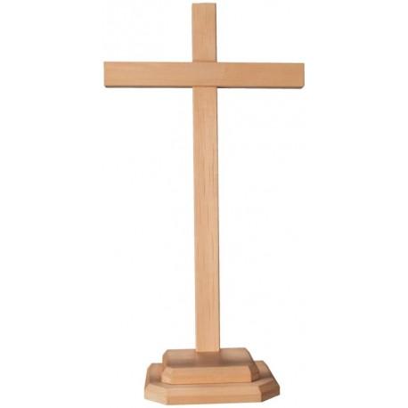 Gerader Balken Kreuz auf Sockel - Natur