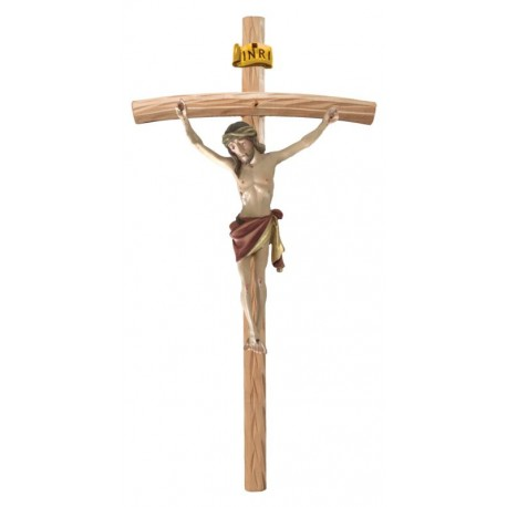 Body of Christ on Curved Stained Cross - Red cloth