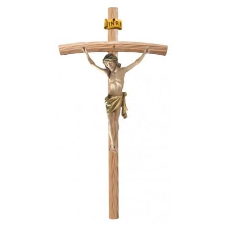 Corpo di Cristo su Croce Curva in legno - drappo dorato