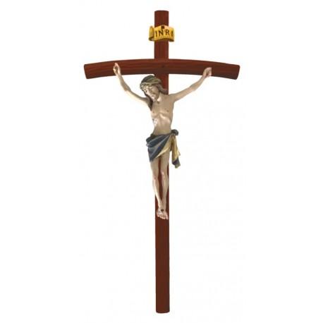 Crucifix with Curved Dark Cross - Blue cloth