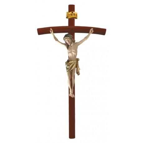 Holzkreuz mit Korpus auf gebogenen dunklen Balken - Vergoldetes Tuch