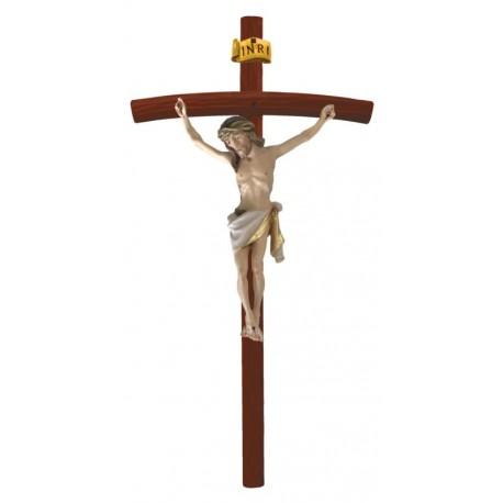 Corpo di Cristo su Croce curva scura in legno - drappo bianco