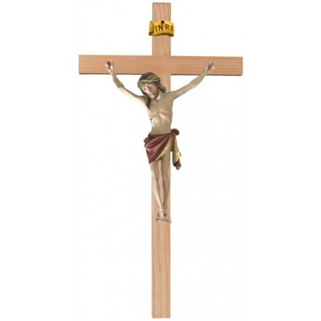Christuskörper aus Holz auf gebogenem Balken - Rotes Tuch