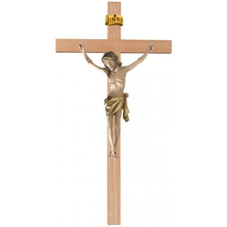 Christuskörper aus Holz auf gebogenem Balken - Vergoldetes Tuch