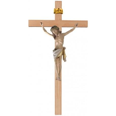 Christuskörper aus Holz auf gebogenem Balken - Weißes Tuch