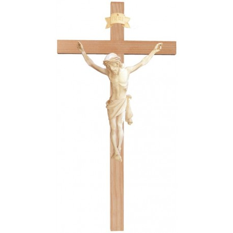 Christuskörper aus Holz auf gebogenem Balken - Natur