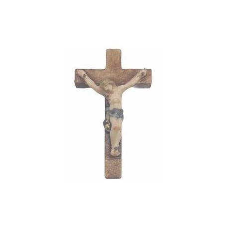 Crocifisso scolpito in legno per rosario - colorato colori pastello