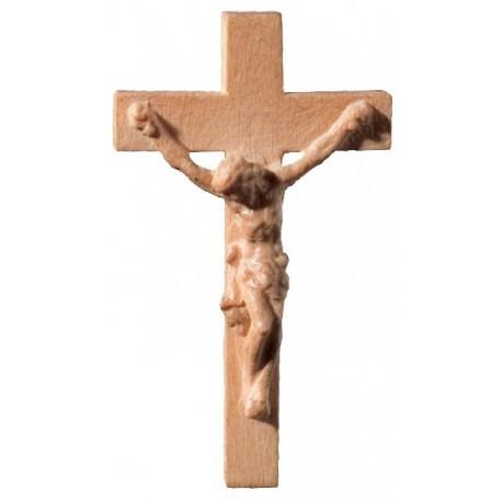 Crocifisso scolpito in legno per rosario - bruno chiaro
