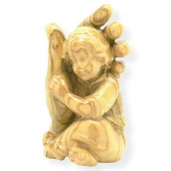 Guardian Angel with Boy in the Hand wood Carving Figurine - Dolfi Hand carved Cross - Made in Italy - olive