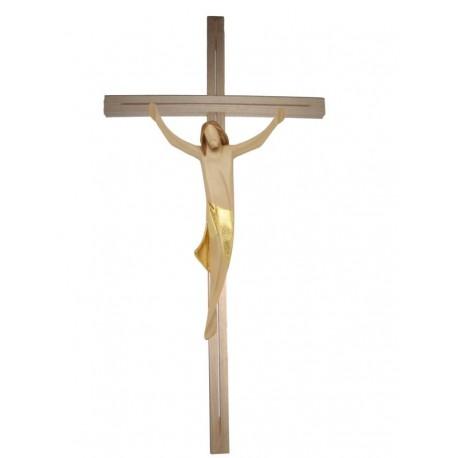 Corpo di Cristo scolpito in legno pregiato su croce - drappo dorato