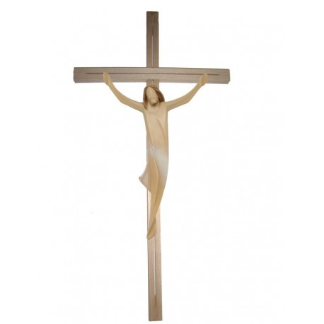 Corpo di Cristo su croce dritta in legno - drappo bianco