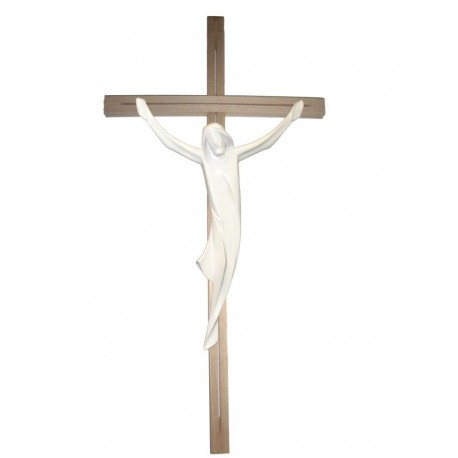 Corpo di Cristo scolpito in legno pregiato su croce - naturale